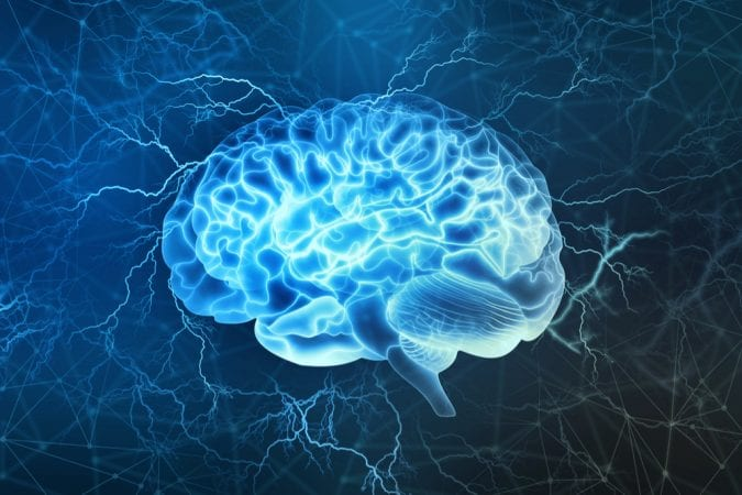 animated brain sparking and having electrical activity