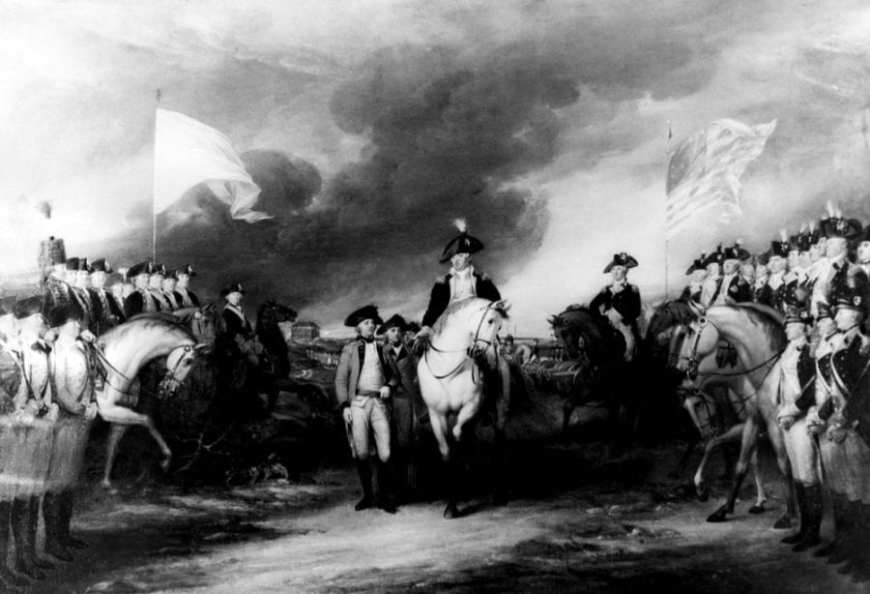 George Washington ahead of soldiers at American Revolution battle painting
