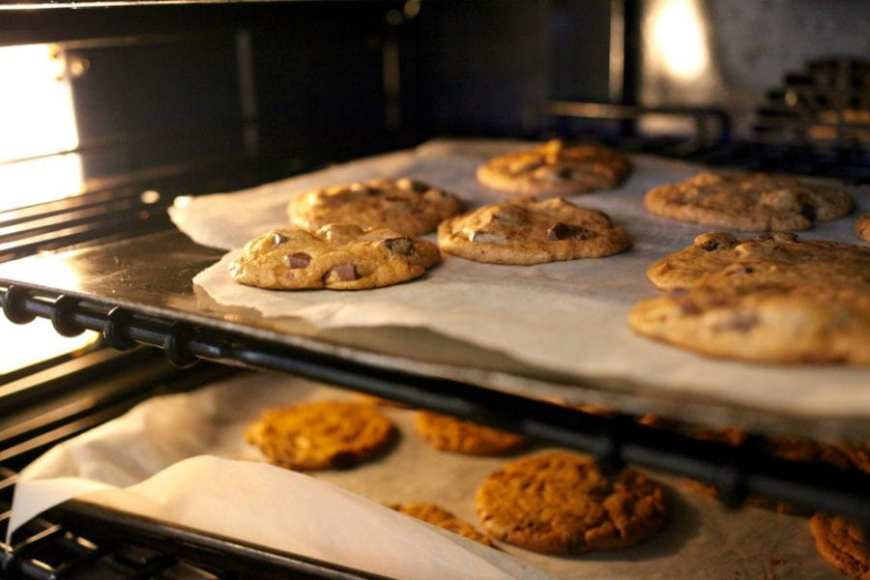 Chocolate Chip cookies in oven