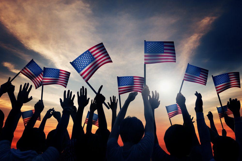 american flags being waved