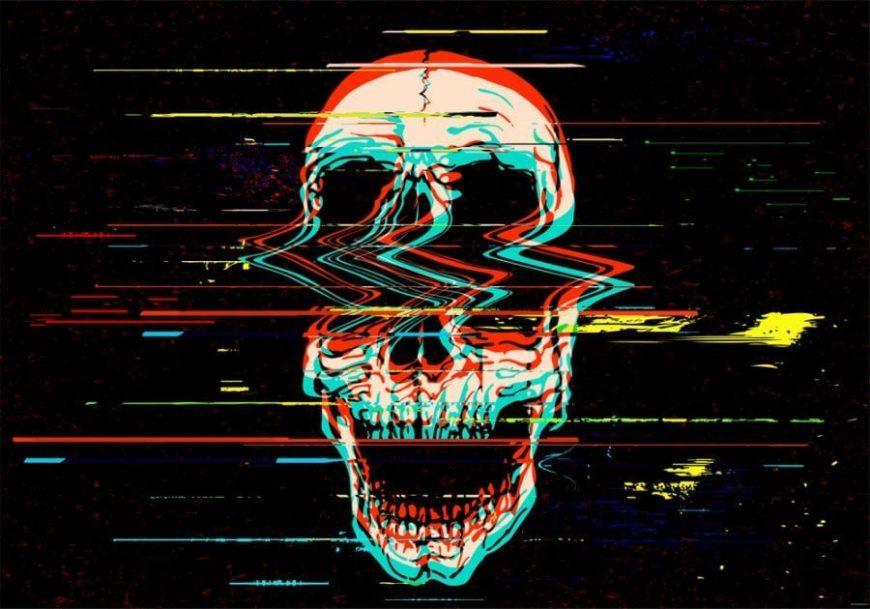 LSD Bad trip Skull disintegrating against black backdrop