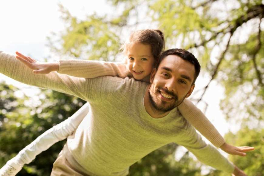 Happy man with daughter on his shoulders
