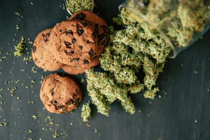 chocolate chip cookies edibles next to bag of weed