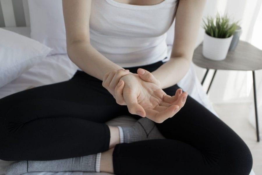 Woman with wrist injury