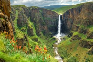 beautiful waterfall in South African country of Lesotho