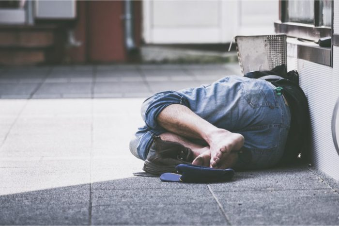 psychosis in homeless man sleeping