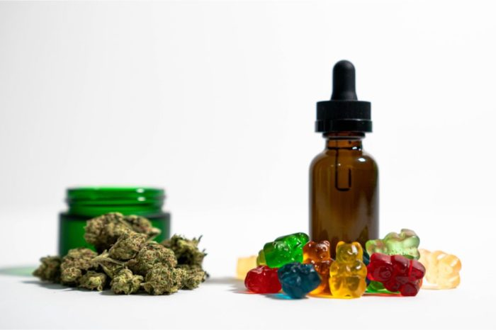 How long does CBD stay in your system represetned by cbd bottle, gummies, and buds