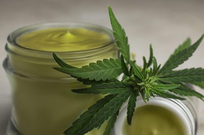 hemp cosmetics in glass jar