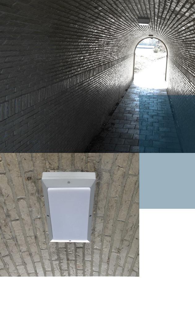 Vandaalbestendige verlichting en armaturen van RXLight lichten een tunnel in Noordeloos uit.