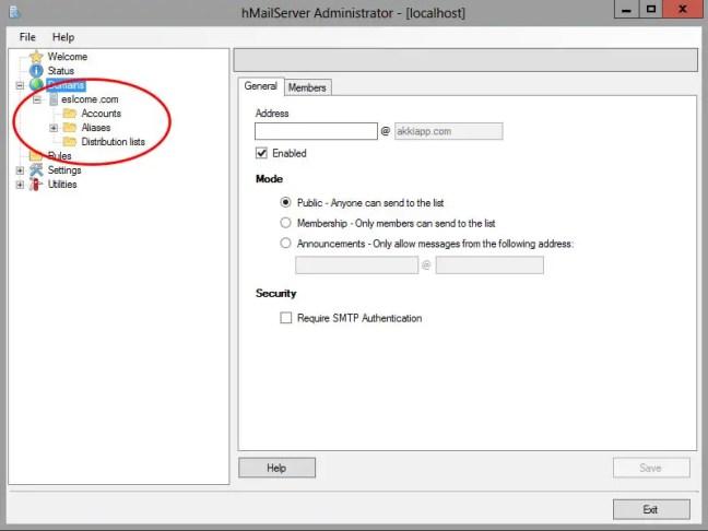 hMailServer.distribution.list