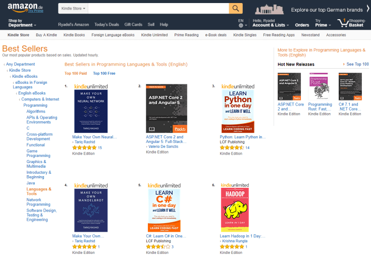 ASP.NET Core 2 and Angular 5 - primi dati di vendita: best-seller in USA, UK, Italia, Francia e Germania!