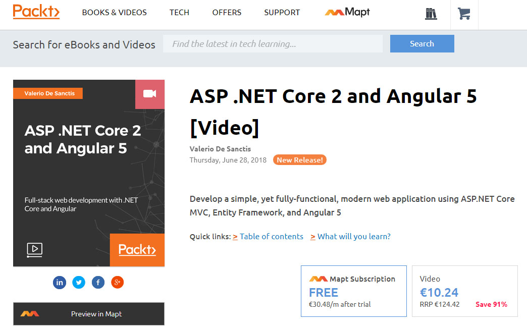 ASP NET Core 2 and Angular 5 - Video Course