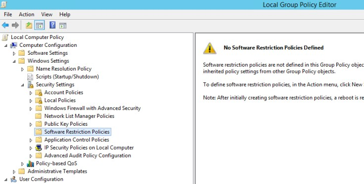 Windows - How to block .exe files in vulnerable folders from running with Software Restriction Policies