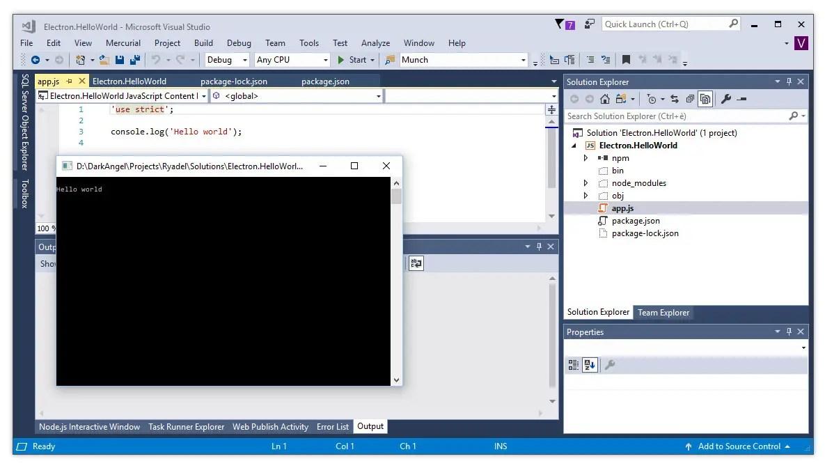 Visual Studio 2017 - Electron Project setup and Hello World