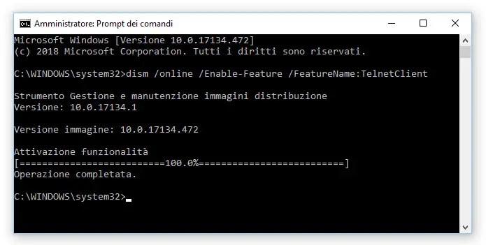 Come installare e attivare Telnet su Windows 10