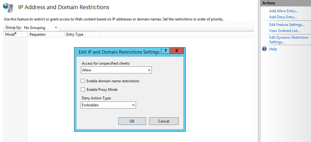 IIS - How to restrict a web site access to some IP addresses