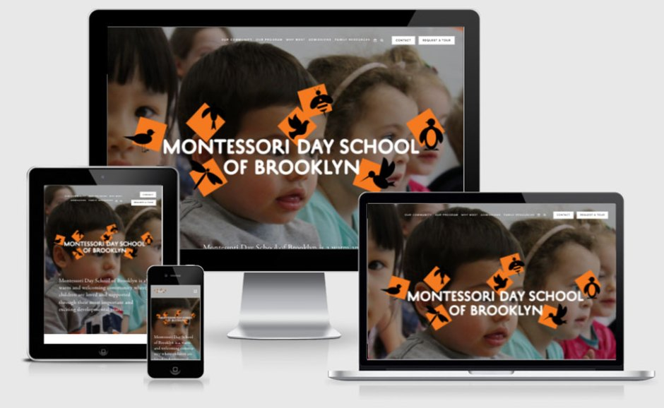 The Montessori Day School of Brooklyn website shown on a variety of different devices