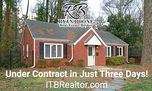 ITB listing under contract in just three days! Ryan Boone Real Estate