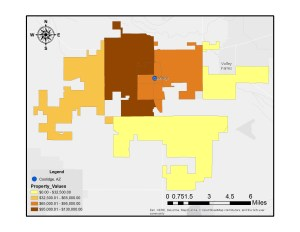 A map showing median housing values in Coolidge, AZ.