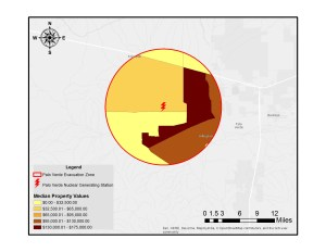 A circular map showing estimated housing values within 10 miles of Palo Verde NGS