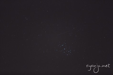"Pleiades star cluster - ""The Seven Sisters"" with a shooting star!"
