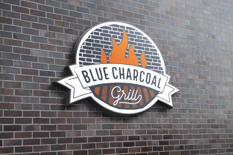 Blue Charcoal Grill Logo Sign