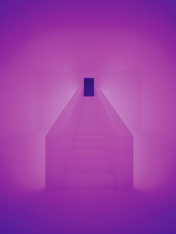 Purple hallway with dark door via Archillect