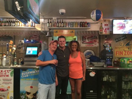 "Derrick Levasseau, and Michelle Costa, both from CBS's Big Brother team up with Windjammer bartenders to donate their time for the ""Friends of the Westerly Animal Shelter."""