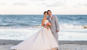 Bride and groom from Colombia by the ocean with a pretty sunset Grande Dunes Ocean Club Myrtle Beach