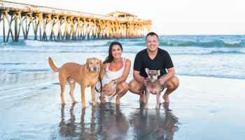 Engagement pictures with the dogs - Myrtle Beach State Park