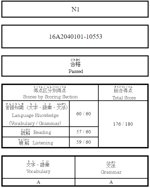 JLPT N1 176 point