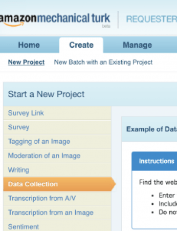 Creating a Data Collection project in mTurk