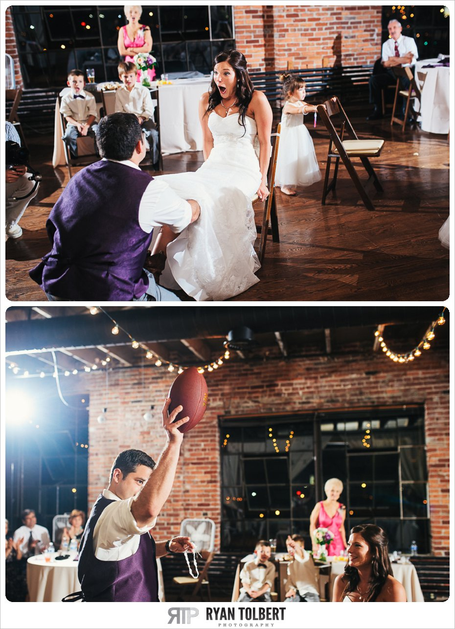 Groom removes Garter from Bride