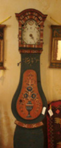 Swedish tall cass Mora clock in its original color. Dated 1843.