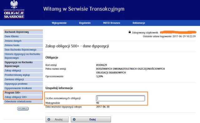 Rodzinne Obligacje Skarbowe - system transakcyjny dla obligacji skarbowych, zakup obligacji 500+