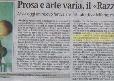 Giornale di Brescia 18 agosto 2009