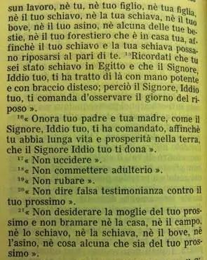 La Sacra Bibbia, Deuteronomio 6, 14-21: I dieci comandamenti
