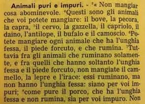 La Sacra Bibbia, Deuteronomio 14, 3-8