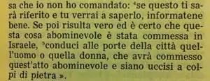 La Sacra Bibbia, Deuteronomio 17, 4-5