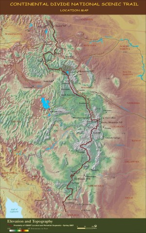 Map of the Continental Divide Trail