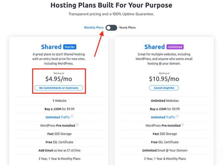 Opzioni del piano Dreamhost per i pagamenti mensili di web hosting fatturati mensilmente
