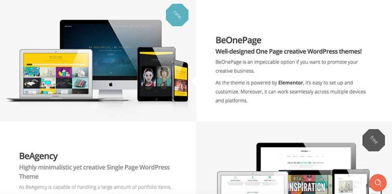 BeTheme for Bloggers (schermata della pagina iniziale)