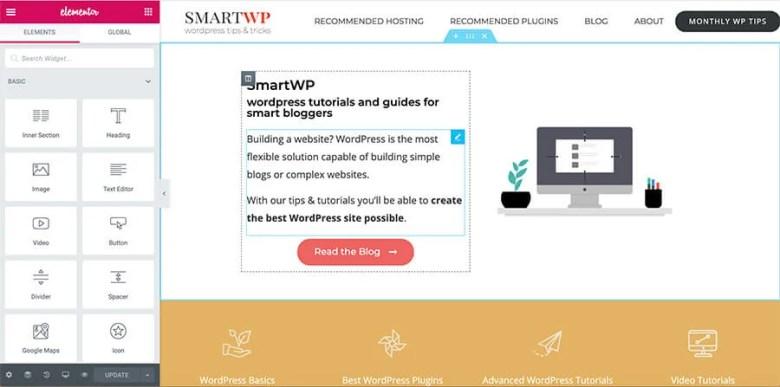 Elementor I migliori temi WordPress Trascina e rilascia Esempio di Generatore di pagine
