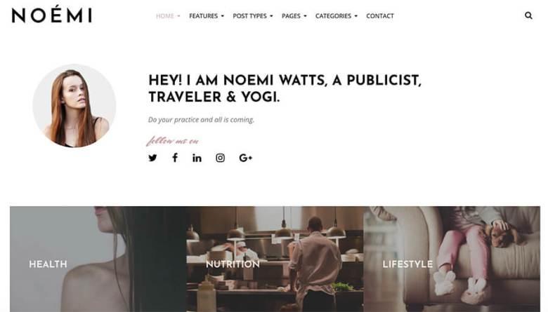 Tema Noemi WordPress per Lifestyle Blogger