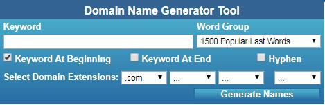 Screenshot dello strumento Generatore di domini NameStall