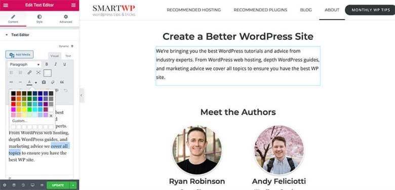 Elementor Page Builder Modifica del colore del carattere in WordPress