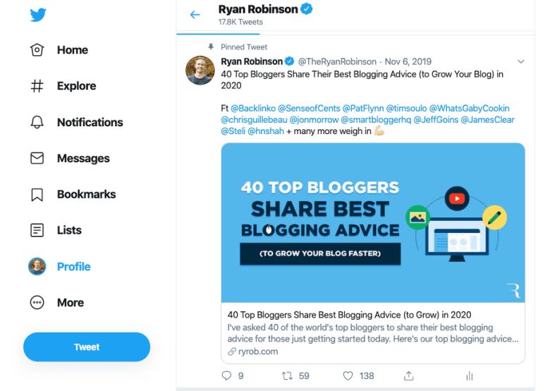 Screenshot dell'account Twitter di Ryan Robinson per vedere come promuovere i contenuti sui social media nel tuo blog Business Plan