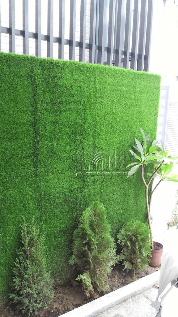 迎賓牆人工草景觀