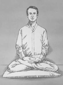 Illustration of man meditating in half lotus