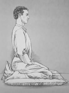 Illustration of man meditating in Japanese posture